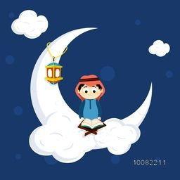 "Illustration of a cute Muslim Boy reading Holy Book ""Quran Shareef"" on big Crescent Moon for Islamic Festivals Celebration."
