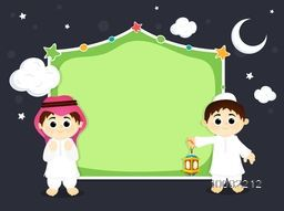 Cute Muslim Boys in Traditional Outfits with Lantern and blank frame for Islamic Festivals Celebration.