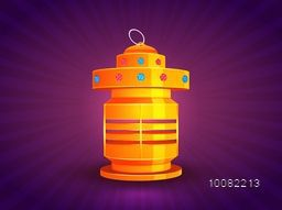 Golden glowing Traditional Lantern on abstract rays, purple background for Islamic Festivals Celebration.