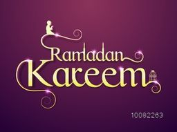 Golden sparkling text Ramadan Kareem with Islamic Elements on glossy background for Holy Month of Muslim Community Festival Celebration.