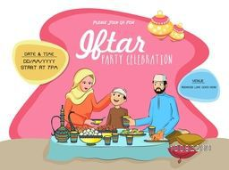 Holy Month of Prayers, Ramadan Kareem, Iftar Party Invitation Card Design with illustration of a Islamic Family enjoying delicious food.