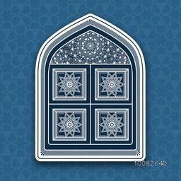 Traditional floral Mosque Door on Islamic Pattern for Muslim Community Festival Celebration.