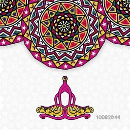 Colourful Traditional Floral design decorated background with Arabic Calligraphy text Ramadan Kareem for Holy Month of Muslim Community Festival Celebration.