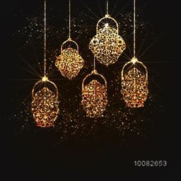 Golden glowing Traditional Floral Lanterns hanging on sparkling brown background for Islamic Festivals Celebration.