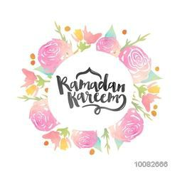 Pink creative roses decorated greeting card for Holy Month of Muslim Community, Ramadan Kareem Celebration.