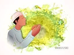 Young Islamic Man in Traditional clothes, Praying on creative abstract background for Islamic Festivals Celebration.