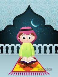 "Cute Little Islamic Boy reading Holy Book ""Quran Shareef"" in Mosque, Night Background for Islamic Festivals Celebration."