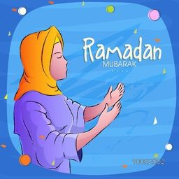 Holy Month of Fasting, Ramadan Kareem Celebration, Illustration of Young Praying Islamic Woman in Traditional Outfit, Elegant Greeting Card.