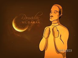 Vector Illustration of Islamic Man in Traditional clothes, Praying in front of glowing golden Moon for Holy Month of Fasting, Ramadan Mubarak Celebration.