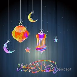 Colourful creative Islamic Elements hanging on glossy background with Arabic Calligraphy text Ramadan Kareem for Holy Month of Muslim Community Celebration.