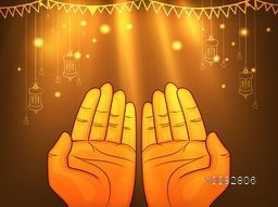 Muslim Praying Hands with Arabic Lanterns and Stars, Shining on brown glossy background for Islamic Festivals Celebration.