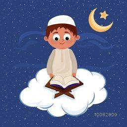 "Cute Muslim Boy reading Islamic Holy Book ""Quran Shareef"" on cloudy, Night background for Muslim Community Festivals Celebration."