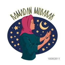 Illustration of a Young Islamic Woman in Traditional Outfits, Praying on Stars and Moon decorated frame for Holy Month of Muslim Community, Ramadan Kareem Celebration.