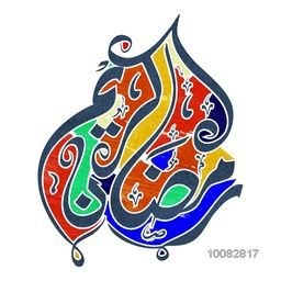 Creative colourful Arabic Calligraphy text Ramadan Kareem on white background for Holy Month of Muslim Community Celebration.