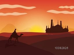Creative illustration of a man riding camel on the desert with creative mosque silhouette in the distance, Beautiful colourful background, Concept for Islamic Festivals celebration.