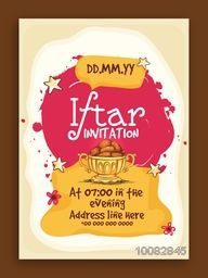 Ramadan Kareem, Iftar Party Invitation Card design with illustration of delicious dates.