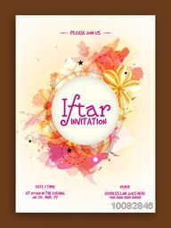 Colourful stylish Ramadan Kareem, Iftar Party Invitation Card with floral design.