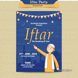Ramadan Kareem, Iftar Party Invitation Card, Iftar Party Poster, Illustration of a Islamic Boy on Mosque silhouetted night background.