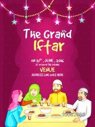 The Grand Ramadan Kareem, Iftar Party Celebration, Invitation Card with illustration of a Islamic Family enjoying delicious food.