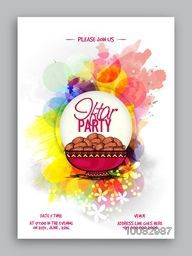Colourful abstract design decorated, Pamphlet, Banner or Flyer with sweet dates for Ramadan Kareem, Iftar Party celebration.