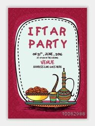 Creative Pamphlet, Banner or Flyer design with illustration of sweet dates, colourful floral jug and glass for Ramadan Kareem, Iftar Party celebration.