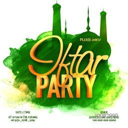 3D Golden Text Iftar Party with Green Mosque made by abstract brush-strokes for Islamic Holy Month of Fasting celebration.