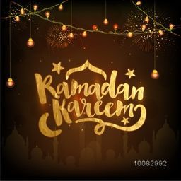 Creative Golden Text Ramadan Kareem on illuminated lights, mosque and fireworks background, Elegant greeting card design for Islamic Holy Month of Prayers celebration.