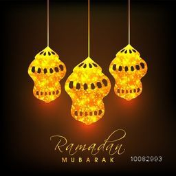 Glowing Golden Lamps hanging on shiny brown background for Islamic Holy Month of Fasting, Ramadan Mubarak celebration.