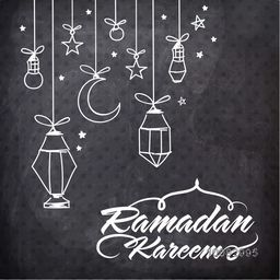 Elegant Greeting Card design with hanging lamps, stars and moon on chalkboard background for Islamic Holy Month of Fasting, Ramadan Kareem celebration.