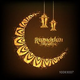 Elegant Greeting Card design decorated with Sparkling Golden Moon and Hanging Lamps on brown background for Islamic Holy Month of Fasting, Ramadan Mubarak celebration.