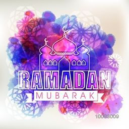 Elegant greeting card design with stylish text Ramadan Mubarak and Mosque on colourful abstract background for Holy Month of Muslim Community Festival celebration.