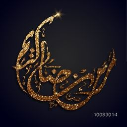 Golden Glittering Arabic Islamic Calligraphy of text Ramadan Kareem in crescent moon shape for Holy Month of Muslim Community Festival celebration.