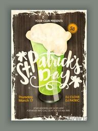 Vintage Pamphlet, Banner or Flyer design with illustration of green beer in glass for St. Patrick's Day Party celebration.