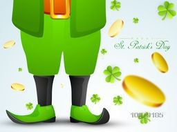 Creative illustration of Leprechaun on shamrock leaves and falling gold coins decorated background for Happy St. Patrick's Day celebration.