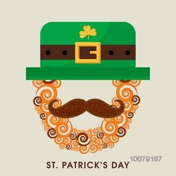 Creative illustration of Leprechaun Face with big moustache and hat for Happy St. Patrick's Day celebration.