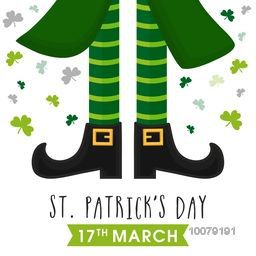 Greeting card design with illustration of Leprechaun legs on shamrock leaves decorated background for Happy St. Patrick's Day celebration.