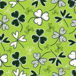 Beautiful shamrock leaves decorated background for St. Patrick's Day celebration concept.