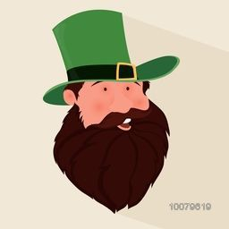 Creative illustration of a happy Leprechaun face in hat for St. Patrick's Day celebration.
