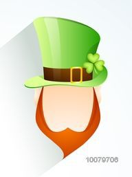 Creative illustration of Leprechaun face in glossy hat for Happy St. Patrick's Day celebration.