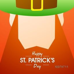 Creative illustration of Leprechaun face in hat for Happy St. Patrick's Day celebration.