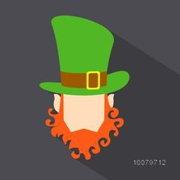 Creative illustration of Leprechaun face in hat on grey background for Happy St. Patrick's Day celebration.