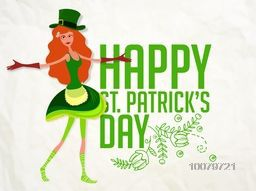 Illustration of young Leprechaun girl for Happy St. Patrick's Day celebration.