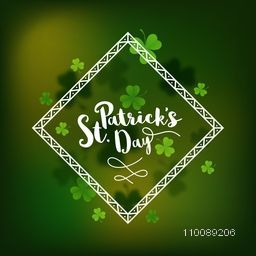 Shamrock leaves decorated, Elegant greeting card design for Happy St. Patrick's Day celebration.