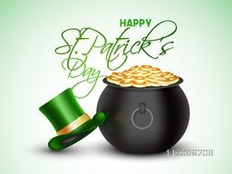 Glossy treasure pot full of gold coins with Leprechaun Hat on shiny background for Happy St. Patrick's Day celebration.