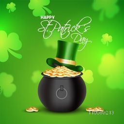 Glossy treasure pot full of gold coins with Leprechaun Hat on shamrock leaves decorated green background for Happy St. Patrick's Day celebration.