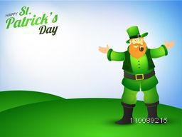 Leprechaun with smoke pipe standing on nature background for Happy St. Patrick's Day celebration.