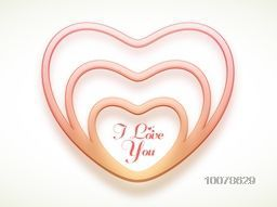 Creative stylish heart with text I Love You on glossy background for Happy Valentine's Day celebration.