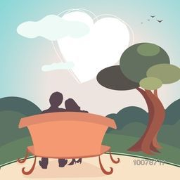 Illustration of young couple sitting on bench and looking at a very beautifull heart shaped clouds on nature background for Happy Valentine's Day celebration.