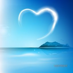 Glossy heart in the sky on beautiful nature view background for Happy Valentine's Day celebration.