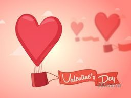 Heart shaped hot air balloon with ribbon flying on glossy cloudy background for Happy Valentine's Day celebration.